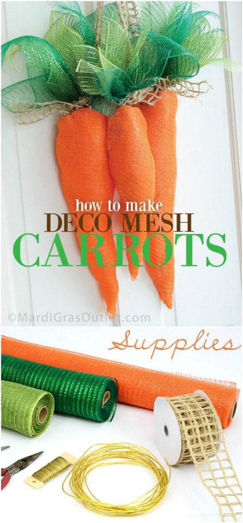 DIY Deco Mesh Carrots