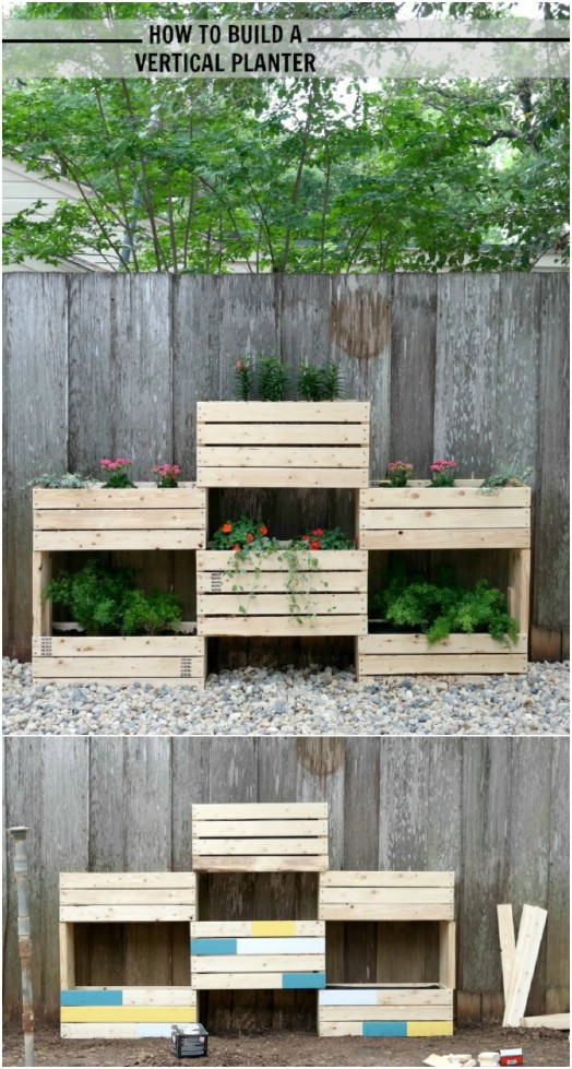 Rustic DIY Wooden Vertical Planter