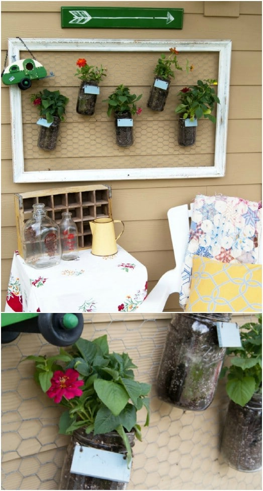 Repurposed Mason Jar Vertical Wall Garden