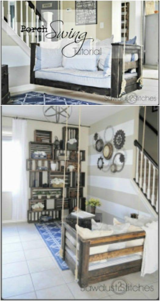 Repurposed Crib Mattress Porch Swing