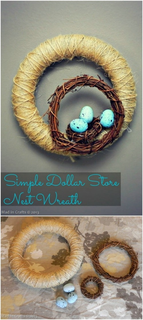 Cheap And Easy DIY Dollar Store Nest Wreath