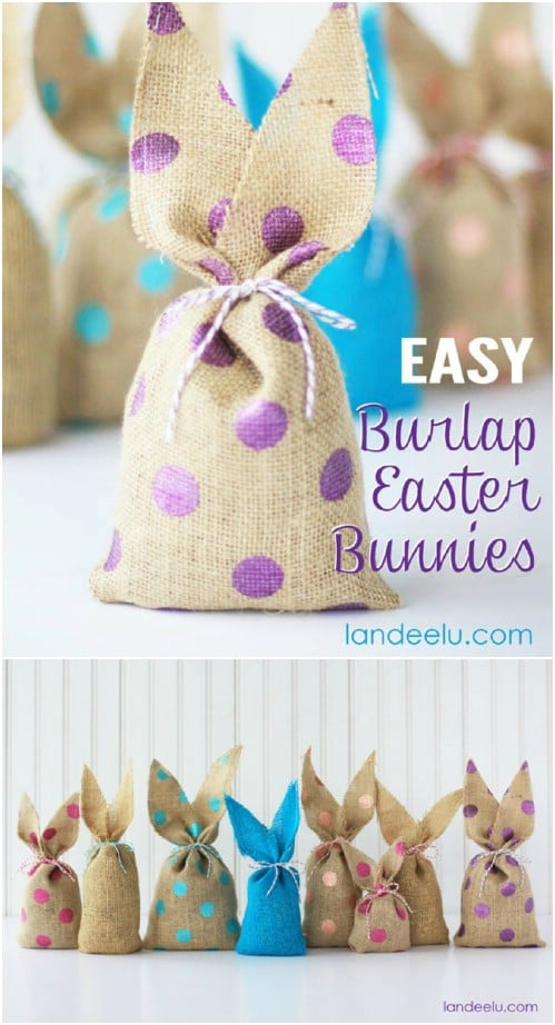 Cute DIY Burlap Easter Bunnies