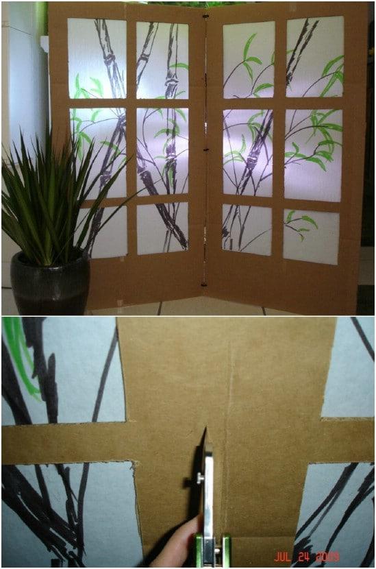DIY Upcycled Cardboard Room Divider