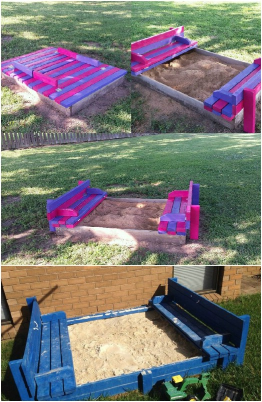 DIY Sand Pit With Seats