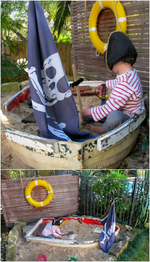 Repurposed Old Boat Sand Box