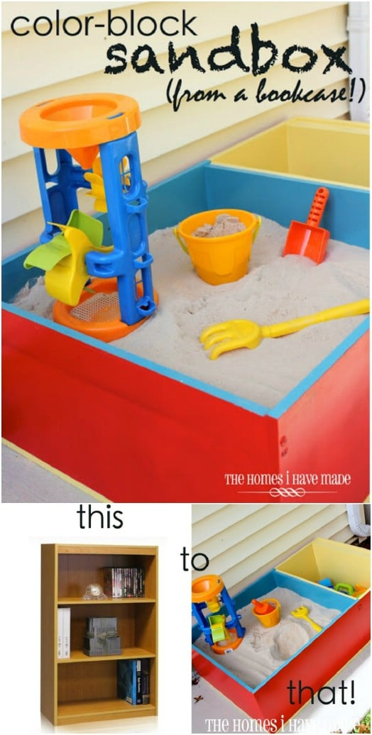 DIY Upcycled Bookcase Color Block Sandbox