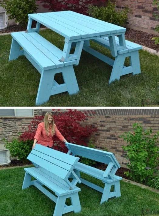 DIY Convertible Picnic Table