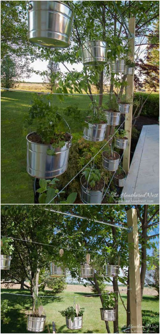 Galvanized Bucket Hanging Garden