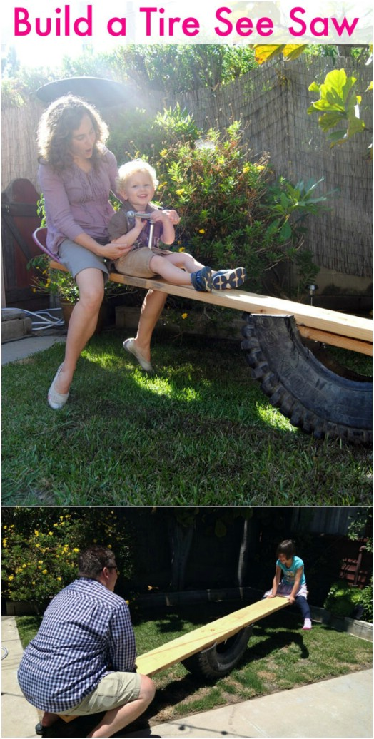 DIY Repurposed Tire Seesaw