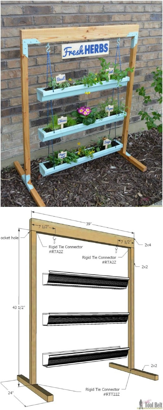 Adorable Hanging Gutter Planter And Stand