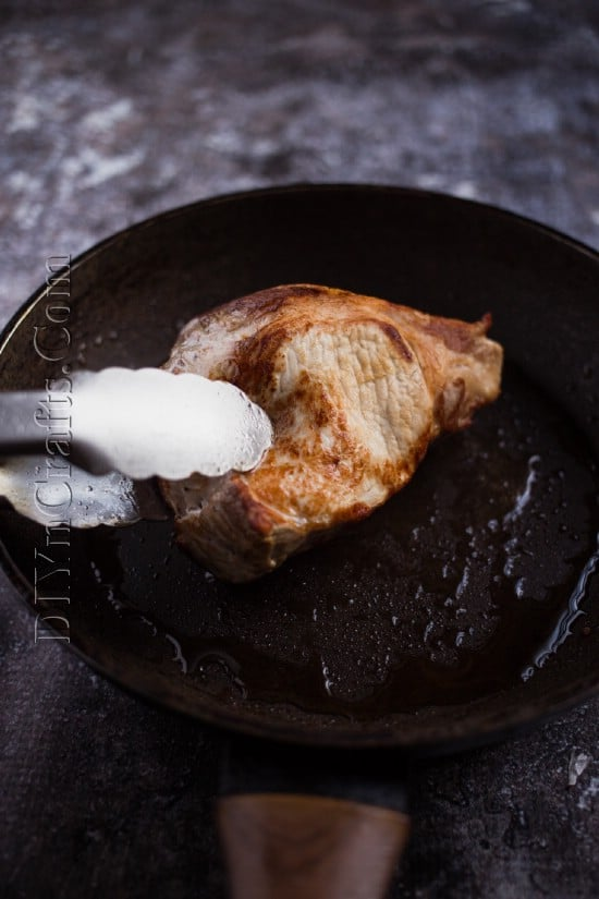 Pre-cooking the pork.