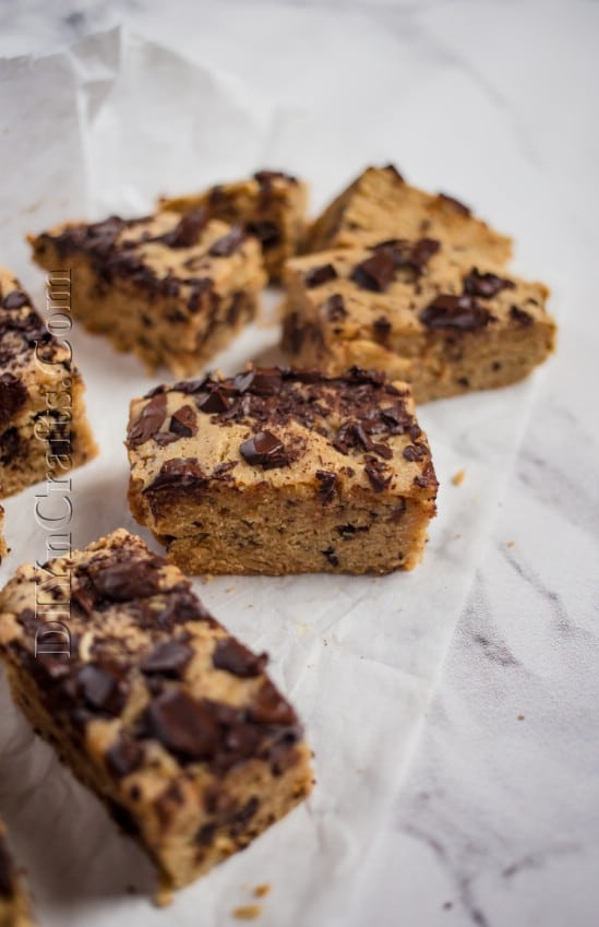 Sliced and served chocolate chip bars.
