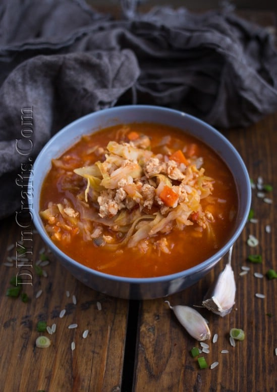 Cooked cabbage roll soup.