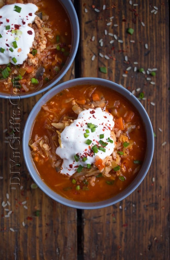 Cabbage Roll Soup served with sour cream.