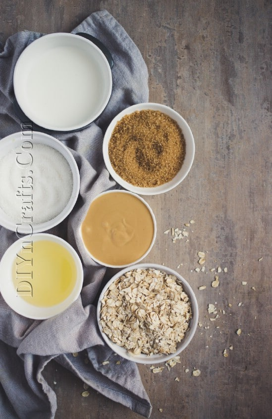 Ingredients for the natural oatmeal bar