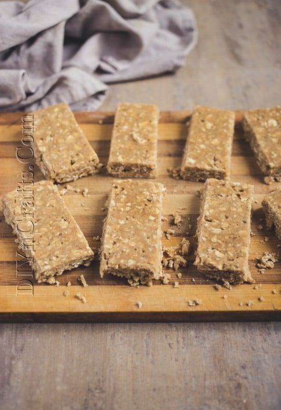 Cut oatmeal bars before baking.