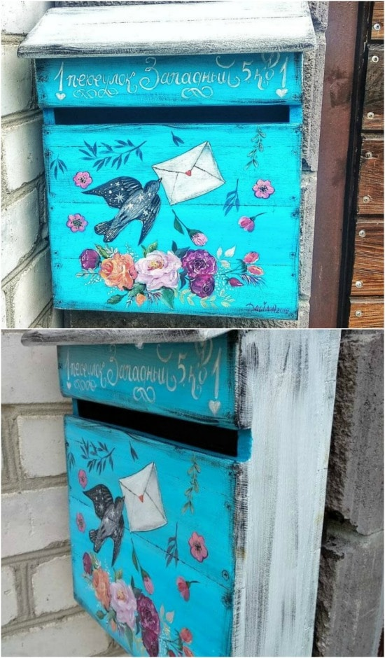Wooden Mailbox with a Painting