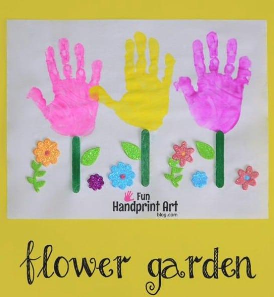 Handprint Flower Garden Art