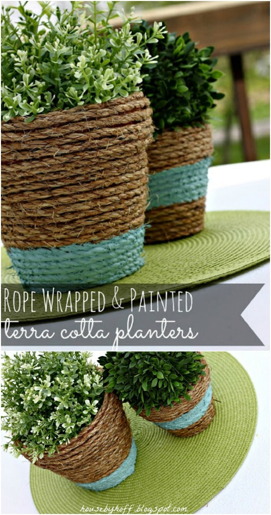 Easy Rope Wrapped Nautical Planters