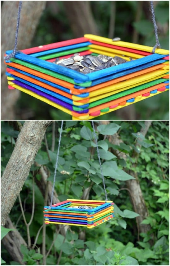 Easy DIY Popsicle Stick Bird Feeder