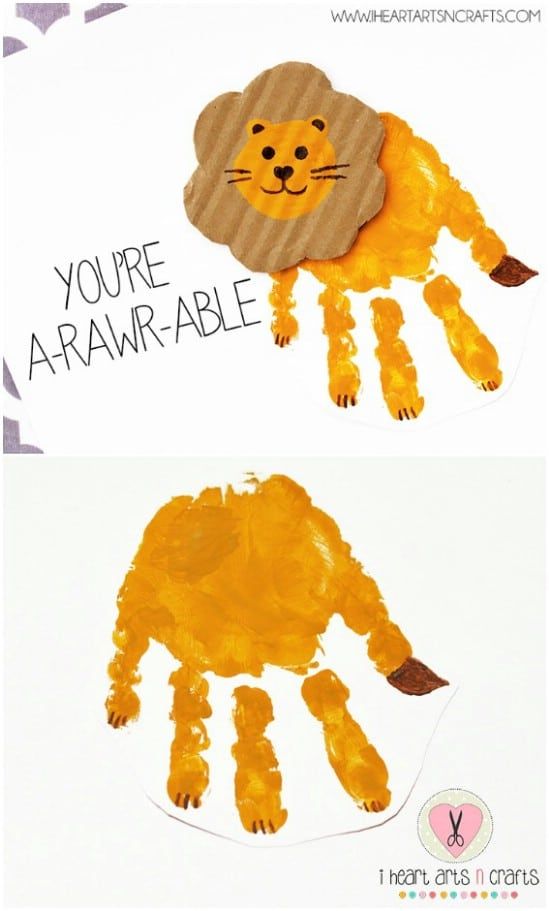 "A""rawr""able Handprint Lion Card"