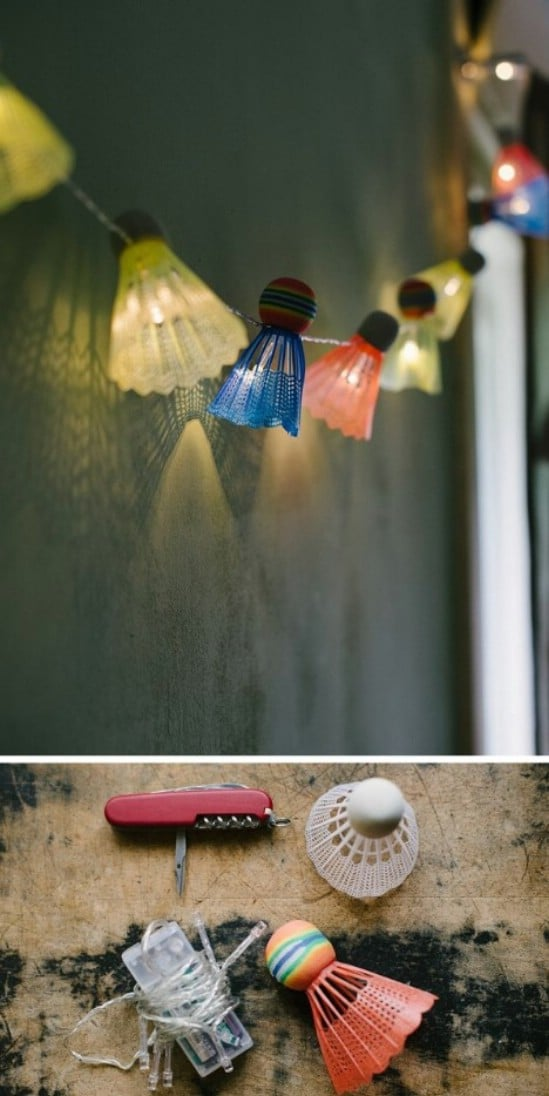 Cute DIY Shuttlecock Garden Lights