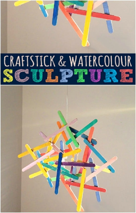 Popsicle Stick Water Color Sculpture