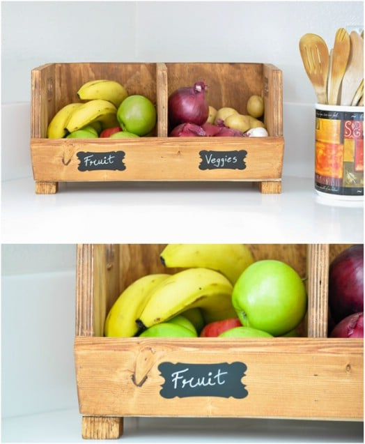 DIY Rustic Wooden Produce Storage With Separators