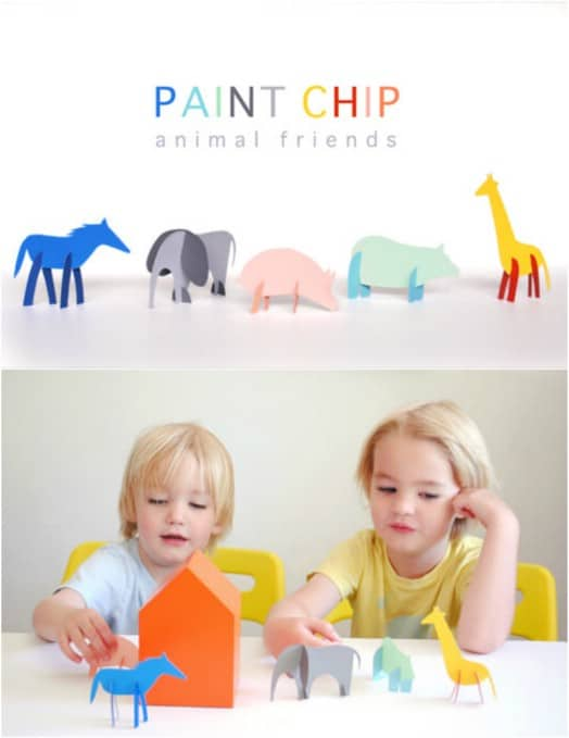 Cute DIY Paint Chip Animal Toys