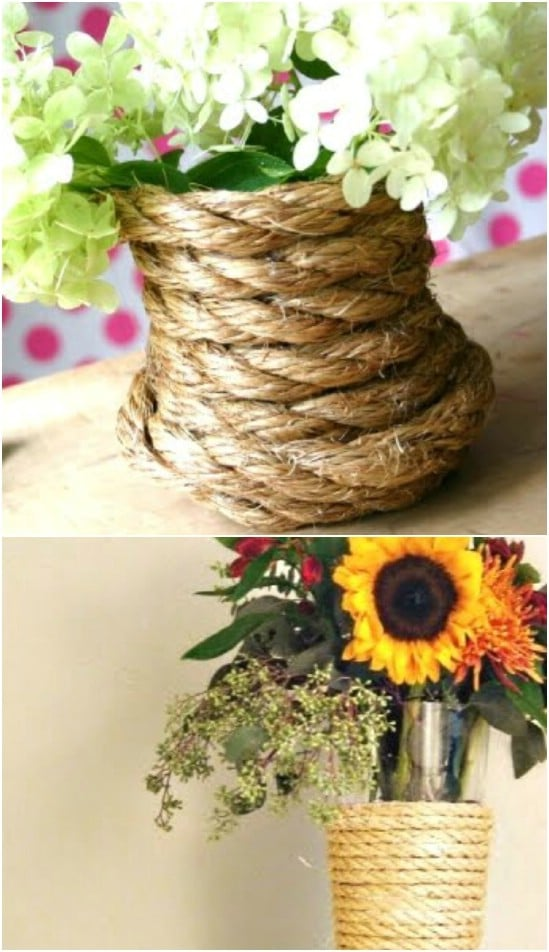 DIY Rope Wrapped Planter Boxes