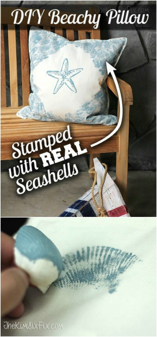 DIY Outdoor Seashell Stamped Pillows
