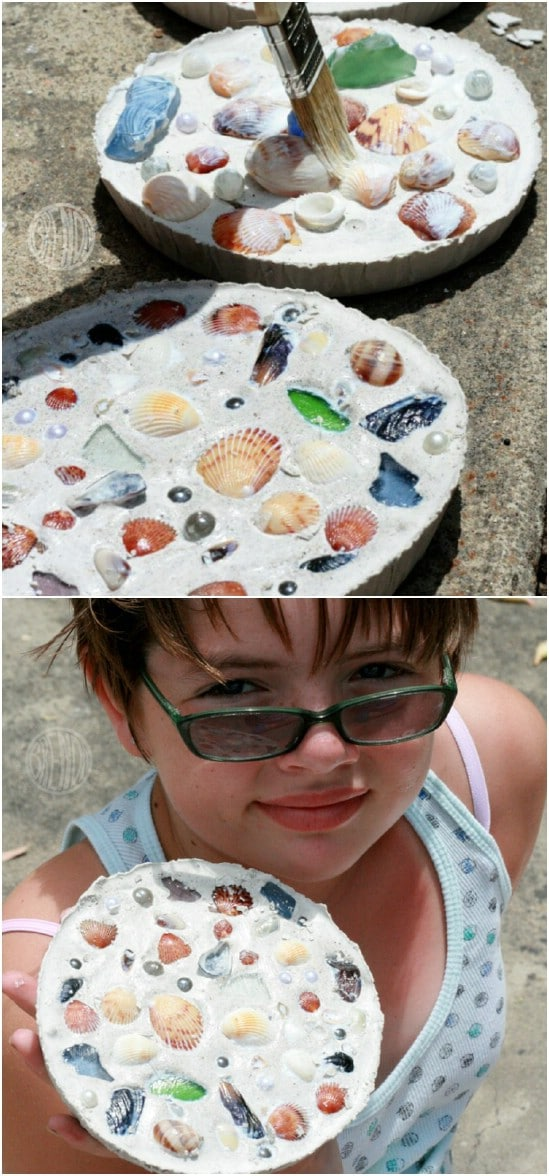 DIY Seashell Stepping Stones