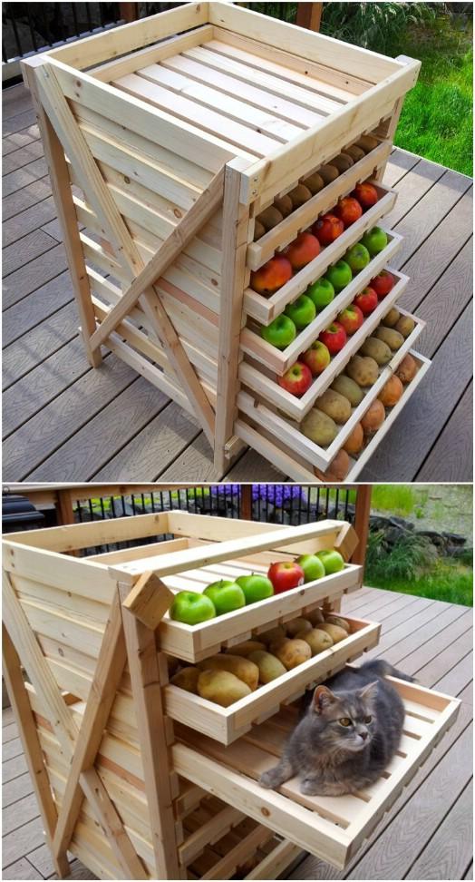 DIY Wooden Slide Out Produce Storage
