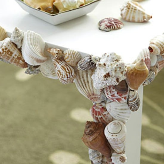 DIY Seashell Embossed Outdoor Table