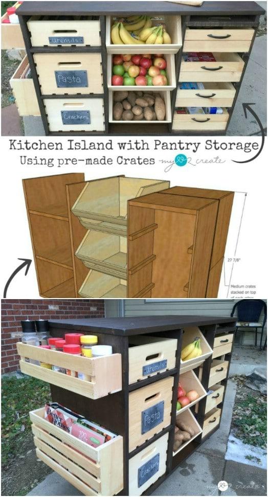 DIY Kitchen Island With Produce Storage