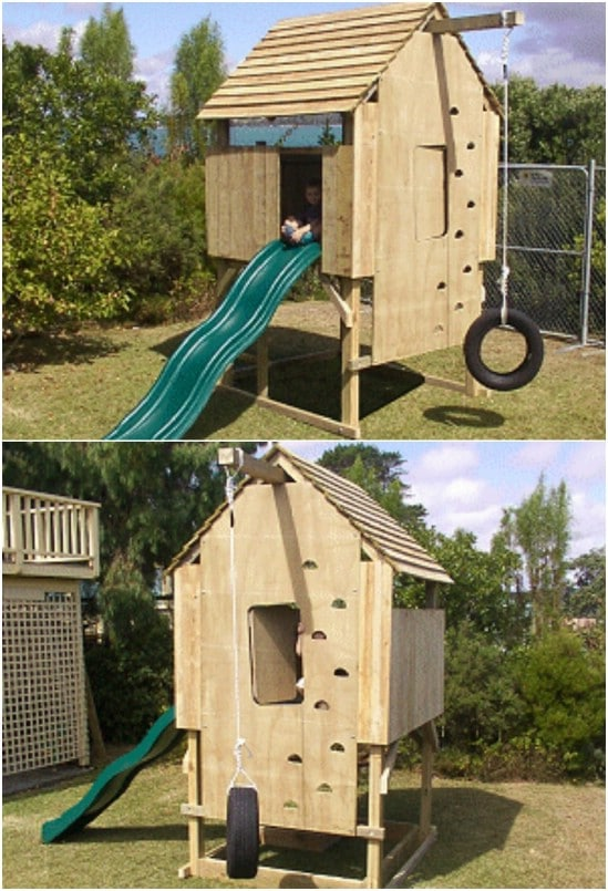 DIY Backyard Play Fort With Tire Swing