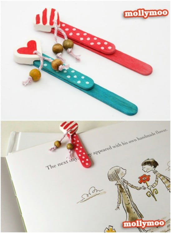 Cute Popsicle Stick Clip On Bookmarks
