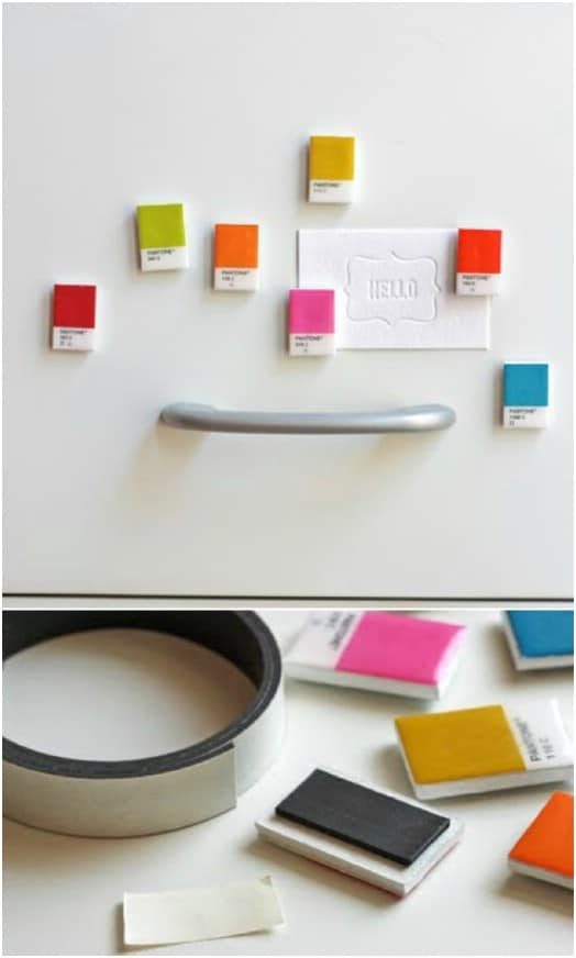 DIY Paint Chip Refrigerator Magnets