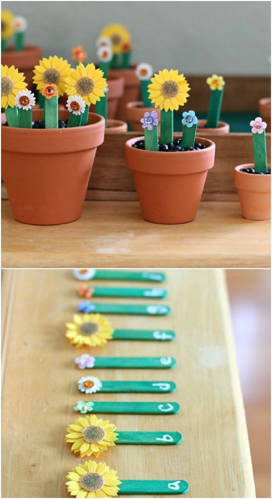 Adorable Alphabet Flower Garden With Popsicle Stick Stems