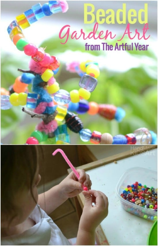 Kid Made DIY Beaded Garden Art