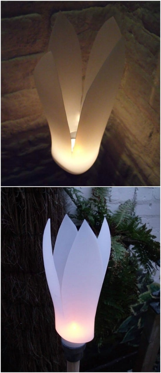 Upcycled Detergent Bottle Petal Lights