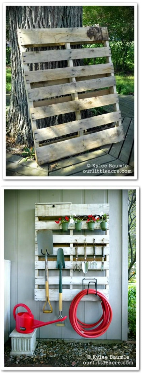Repurposed Pallet Garden Storage System