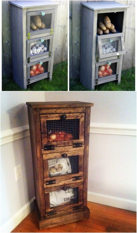 DIY Rustic Reclaimed Pallet And Chicken Wire Produce Bin