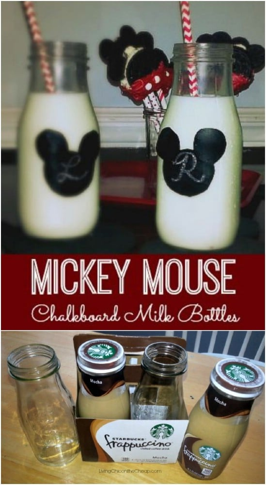 Mickey Chalkboard Milk Bottles