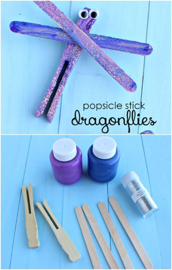 Glittery Popsicle Stick Dragonflies