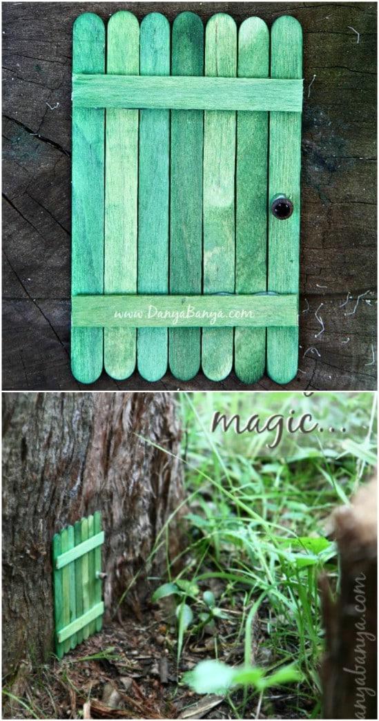 DIY Popsicle Stick Fairy House Door