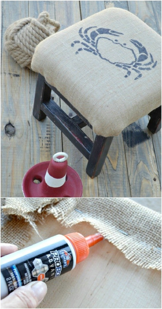 DIY Burlap Upholstered Footstool