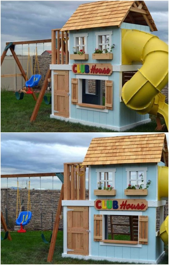 Awesome DIY Clubhouse Swing Set