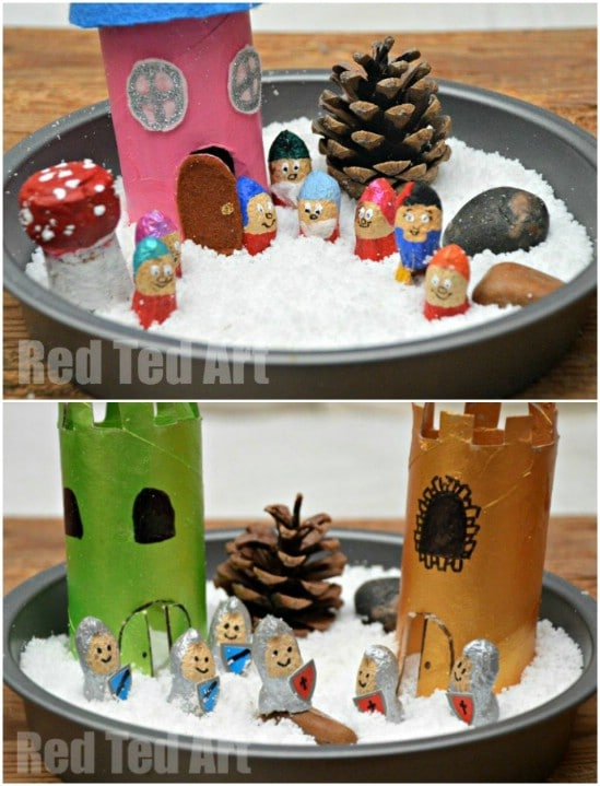 Upcycled Peanut Shell Snow White Playset
