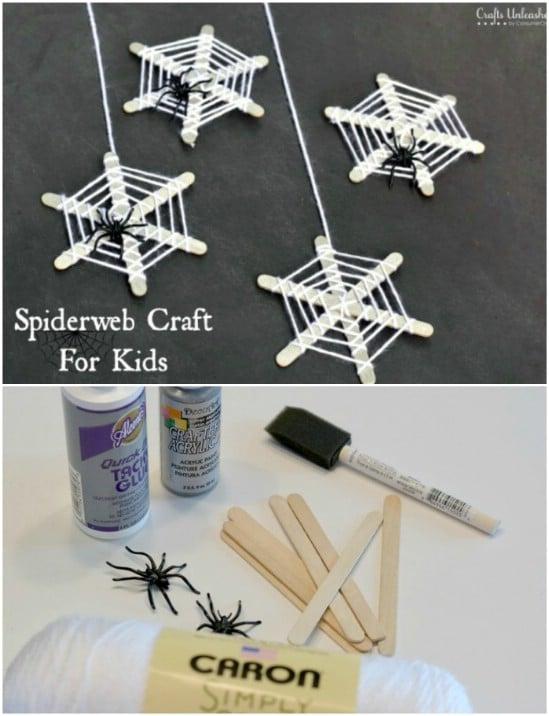 Craft Stick Spiderwebs